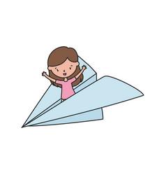 Happy little girl cartoon character flying in vector