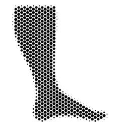 Hexagon halftone leg icon vector