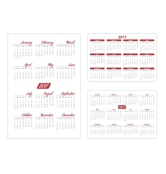 Horizontal and vertical pocket calendar vector image