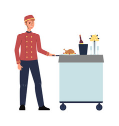 hotel food service employee in red uniform pushing vector image