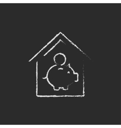 House savings icon drawn in chalk vector image