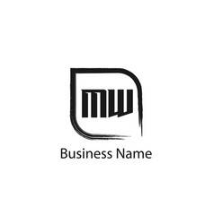 initial letter mw logo template design vector image