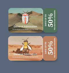 Insect and bird ticket design with bee bug vector