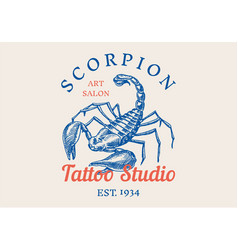 Insect logo vintage scorpion label for bar or vector