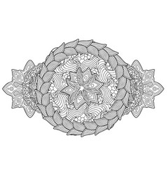 isolated coloring book art with wreath and flower vector image