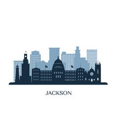 jackson skyline monochrome silhouette vector image