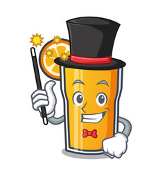 Magician orange juice mascot cartoon vector