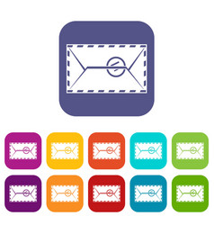 mail envelope with a stamp icons set flat vector image