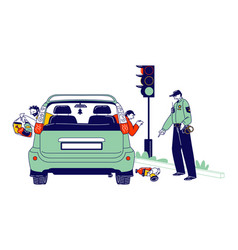 Male characters throw garbage through car windows vector