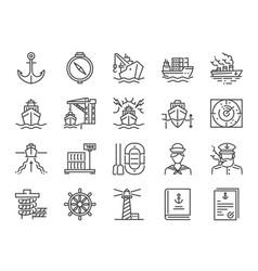 marine port icon set vector image
