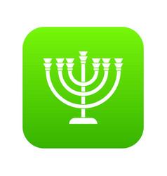 menorah icon digital green vector image