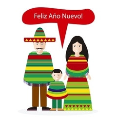 Mexicans people congratulations happy new year vector