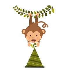 Monkey cartoon with party hat design vector
