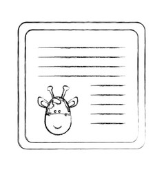 Monochrome blurred card with male giraffe head vector