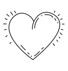 Monochrome contour of heart icon vector