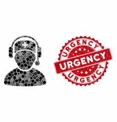Mosaic doctor call center with distress urgency vector