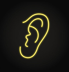 Neon human ear icon in line style vector