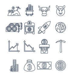 Outline cripto currency icons vector