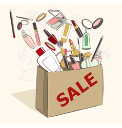 Paper bag with cosmetics on sale vector image