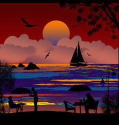 people silhouette on beach and ship at sea vector image