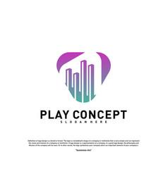 play media city logo design concept stats play vector image