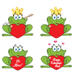 princess frog cartoon character 2 collection set vector image