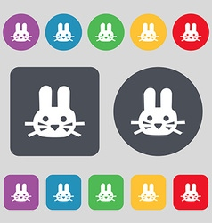 Rabbit icon sign A set of 12 colored buttons Flat vector image