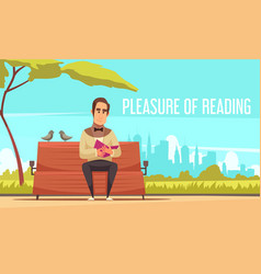 Reading books background vector