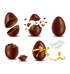 realistic chocolate eggs set broker exploded vector image
