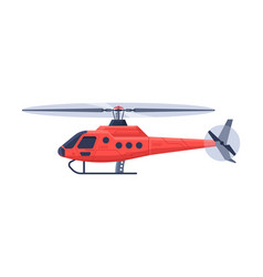 Red helicopter aircraft flying chopper air vector