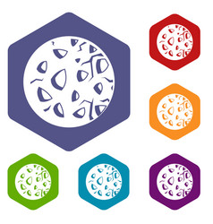 Rocky planet icons set hexagon vector