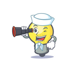 Sailor light bulb character cartoon with binocular vector