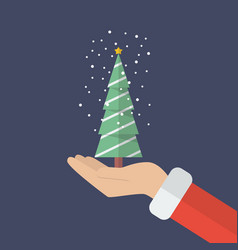 santa claus hand holding christmas tree vector image