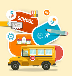 school bus with items for studying design vector image