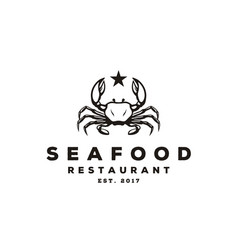 Seafood crab lobster vintage classic luxury logo vector