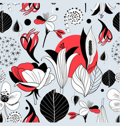 seamless graphic pattern different flowers vector image
