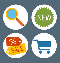 set flat shopping icons online store business vector image
