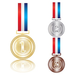 Set gold silver and bronze medals vector
