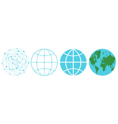 set icons a globe vector image