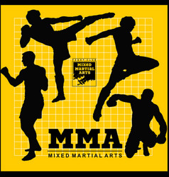 Set mma fighters silhouette vector