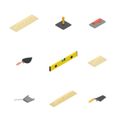 set of 3d icons plastering tools vector image