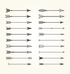 set of bow arrows - ethnic archery arrows vector image