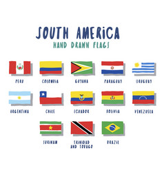 set of flags of south american countries vector image