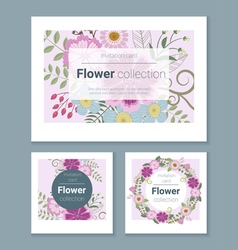 Set of invitation cards with colorful flowers 6 vector image