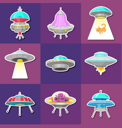 set of ufo stickers alien spaceships vector image