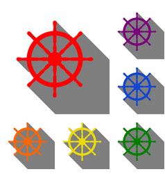 Ship wheel sign set of red orange yellow green vector