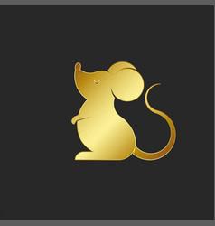 Silhouette cartoon golden rat logo or mouse vector