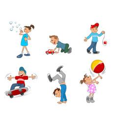six playing kids vector image vector image