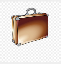sketch of an old brown leather suitcase vector image