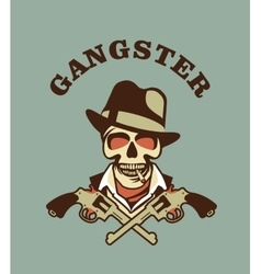 Skull in hat gangster vector
